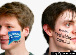 BuyMyFace.com's founders, Ross Harper and Ed Moyse, turn their faces into a billboard for air fresheners.