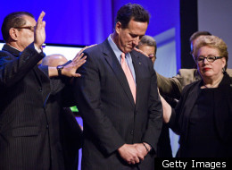 Presidential candidate and former U.S. Rick Santorum (R-PA) attends a prayer service at the Path of the Cross Evangelical Church on March 14, 2012 in San Juan, Puerto Rico.