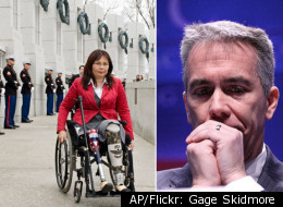 Joe Walsh (right) is being criticized by a veterans organization after making offensive comments about his opponent Tammy Duckworth's service in Iraq.