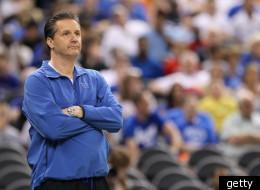 Kentucky coach John Calipari duirng a Final Four practice session.