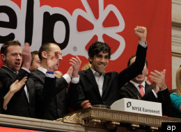 Jeremy Stoppelman, Yelp co-founder and CEO, rings the opening bell at the New York Stock Exchange on the day of his company's IPO, Friday, March 2, 2012.