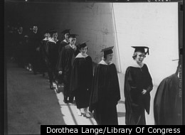 3650 graduates received their degrees at University of California in May 1938. Stadium, University of California. (Dorothea Lange/Library Of Congress)