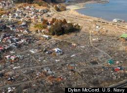 An aerial view of damage to Sukuiso, Japan, a week after the earthquake and subsequent tsunami devastated the area in March, 2011.