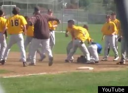 Ugly baseball breaks out between two high school teams.
