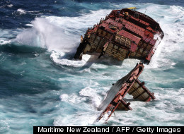 The wrecked ship Rena's stern sunk in rough waters off the coast of New Zealand. (MARITIME NEW ZEALAND / AFP / GETTY )