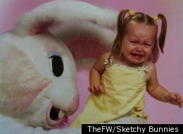 This little girl just wants the Easter Bunny to hop away.