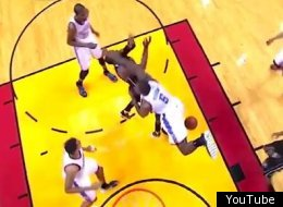 Kendrick Perkins was called for a technical foul on his hard hit on Dwyane Wade.