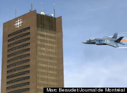 This Marc Beaudet cartoon on an F-35 jet flying into the CBC building in Montreal is raising questions about whether a line has been crossed. The caricature was published in Journal de Montréal.