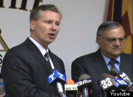 Andrew Thomas, the former Maricopa County attorney, and Sheriff Joe Arpaio at a press conference discussing illegal immigration in 2011. Photo taken from Arpaio's YouTube feed.