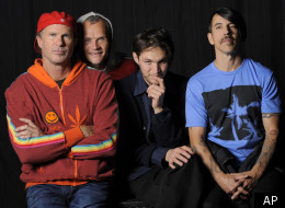 In this March 16, 2012 photo, members of the Red Hot Chili Peppers, from left, drummer Chad Smith, bassist Flea, singer Anthony Kiedis, guitarist Josh Klinghoffer pose for a portrait in the Hollywood section of Los Angeles. The group will be inducted into the Rock and Rock Hall of Fame on Saturday, April 14. (AP Photo/Chris Pizzello)