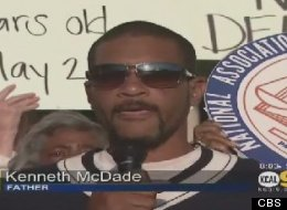 Kenneth McDade, the father of Kendrec McDade, spoke out at a rally in Pasadena about the fatal shooting of his 19-year-old son by Pasadena police.