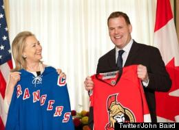 Hillary Clinton and John Baird have made a bet on the outcome of the NHL hockey series between the New York Rangers and Ottawa Senators. (<a href=