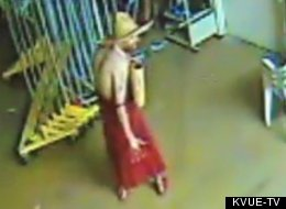 Police say Adam Mabery broke into a Goodwill thrift store in Sherman, Tex., while naked, put on a red dress and a hat and started dancing around the place.