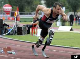 South Africa's Oscar Pistorius runs in the 400 metres event during the track and field meeting dedicated to the late Polish Olympic champion Kamila Skolimowska, in Warsaw, Poland, Tuesday, Sept. 20, 2011. (AP Photo/Alik Keplicz)