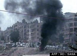 Homs sous les bombardements le 14 avril