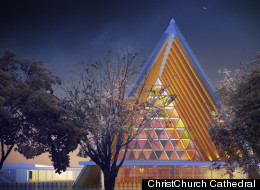 A temporary version of ChristChurch Cathedral in New Zealand is going to be built with cardboard. The original stone church was ruined last year in an earthquake that killed 185 people and destroyed much of the downtown.