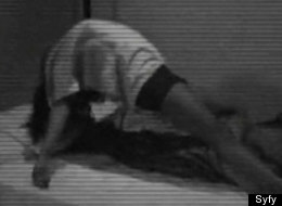 Levitating woman on