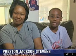 Preston Stevens, 9, was almost struck by a stray bullet, but said divine intervention saved his life.