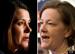 Party leaders battling it out in the final days of the Alberta election campaign braved the barbs of a live studio audience in a final debate before Monday's vote. (CP)