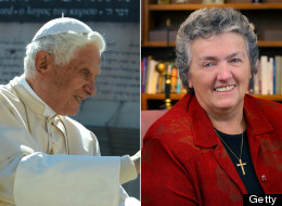 On Left Pope Benedict, On Right Sister Joan Chittister