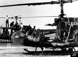 The two West German border police helicopters that carried armed terrorists and their Israeli Olympian hostages, stand at Fuerstenfeldbruck air force base twenty miles west of Munich, Germany, on Sept. 7, 1972.