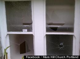 Windows are damaged at Mark Driscoll's Mars Hill Church at Portland, Oregon. Photo credit: Facebook / Mars Hill Church Portland