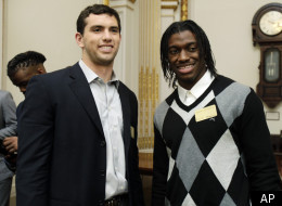 NFL Draft 2012: Andrew Luck, left, and Robert Griffin III visit the New York Stock Exchange, Wednesday, April 25, 2012.