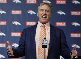 Denver Broncos vice president John Elway talks about trading the team's first-round pick in the NFL football draft, in Englewood, Colo., on Thursday, April 26, 2012. The Broncos traded the 25th pick to New England for the 31st pick and a fourth-rounder. Then, they sent both of those picks to Tampa Bay for the Buccaneers' second-rounder, No. 36 overall, and the 101st selection, in the fourth round. (AP Photo/Ed Andrieski)