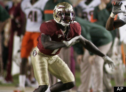 Add to Current Lightbox  Miami wide receiver Allen Hurns (1) positions to catch a pass as Florida State cornerback Mike Harris (1) defends in the fourth quarter of an NCAA college football game on Saturday, Nov. 12, 2011 in Tallahassee, Fla. Florida State won 23-19. (AP Photo/Phil Sears)