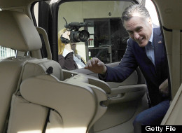 Republican presidential hopeful Mitt Romney gets into a car after visiting his campaign headquarters in Charleston, South Carolina, January 19, 2012. South Carolina will hold its Republican primary on January 21, 2012. AFP PHOTO/Emmanuel Dunand (Photo credit should read EMMANUEL DUNAND/AFP/Getty Images)