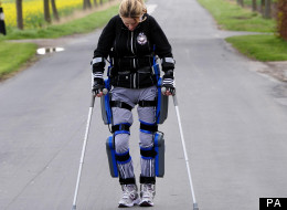 Claire Lomas trains for the London Marathon in a bionic ReWalk suit in lanes near Hull.