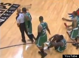 Rajon Rondo gets ejected for bumping an official during Game 1 against the Hawks.