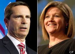 The Ontario NDP, led by Andrew Horwath (right), is accusing Liberal Premier Dalton McGuinty of appointing Tory MP Elizabeth Witmer to the WSIB in order to get a shot at a majority government. (CP)