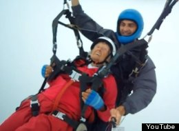 A 104-year-old woman made a second attempt to claim the world's oldest paraglider title in Cyprus earlier this month