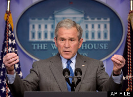 Then President George W. Bush speaks during a news conference at the White House in Washington, Thursday, Feb. 28, 2008. (AP Photo/Ron Edmonds)