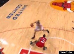 Bulls' Joakim Noah makes Sixers forward Thaddeus Young fall down with nice fake.
