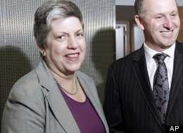 U.S. Secretary of Homeland Security Janet Napolitano, left, is greeted by New Zealand's Prime Minister John Key at parliament house in Wellington, New Zealand, Wednesday, May 2, 2012.  (AP Photo/New Zealand Herald, Mark Mitchell)