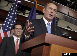 House Majority Leader Eric Cantor of Va. listens at left as House Speaker  John Boehner of Ohio talks about jobs during a news conference on Capitol Hill in Washington, Friday, Feb. 3, 2012.  (AP Photo/J. Scott Applewhite)