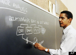 This photo released by Obama for America shows a Barack Obama teaching at the University of Chicago Law School.