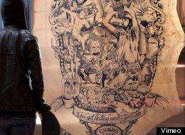 A German tattoo artist draws world news on a calfskin