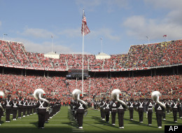 The Ohio State Marching Band plays before the start of an NCAA college football game between the Buckeyes and Michigan on Saturday, Nov. 27, 2010, in Columbus, Ohio. Ohio State won the game 37-7. (AP Photo/Jay LaPrete)