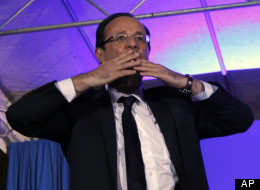 President-elect Francois Hollande blows a kiss to the crowd after his election in Tulle, central France, Sunday, May 6, 2012. Francois Hollande defeated Nicolas Sarkozy on Sunday to become France's next president, Sarkozy conceded defeat minutes after the polls closed. (AP Photo/Christophe Ena)