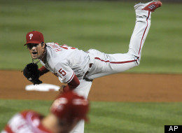 Cole Hamels pitches against the Nationals on Sunday, May 6, 2012.