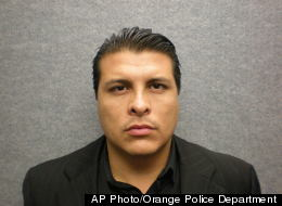 n this police booking photo released by the Orange Police Department showing Shazer Fernando Limas, 31, who was arrested after a freeway chase and booked Friday April 4,2012 for the deaths of his girlfriend and the couple's two young boys in Orange, Calif. (AP Photo/Orange Police Department)