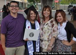 Serena Whitecotton, 22, at graduation with her brother Elliot Whitecotton, 17, mother Beatrice Satmary, 54, and sister Andrea Whitecotton, 18.