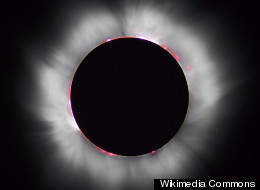 This sky map depicts the location of the sun and moon in the daytime sky during the annular solar eclipse of May 20, 2012 as viewed from North America. An annular solar eclipse occurs when the moon does not completely obscure the sun, leaving a bright ring around the moon's disk.