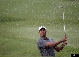 Tiger Woods watches his shot from a 10th hole bunker during the first round of the Players Championship golf tournament, Thursday, May 10, 2012, at Sawgrass in Ponte Vedra, Fla. (AP Photo/Chris O'Meara)