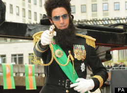 The Dictator (probably Sacha Baron Cohen) rocked up at London's Royal Albert Hall for the world premiere of his film