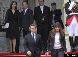 François Hollande et sa compagne lors du départ de Nicolas Sarkozy et Carla Bruni, le 15 mai 2012.