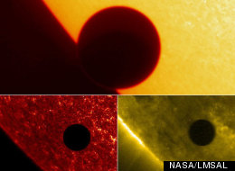 Three views of Venus transit in 2004, taken by NASA's sun-observing TRACE spacecraft. The top image is in visible light; the view on bottom left is in the ultraviolet, and the one on bottom right is in the extreme ultraviolet.